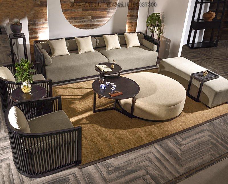 新中式实木布艺沙发组合,新中式布艺沙发定制