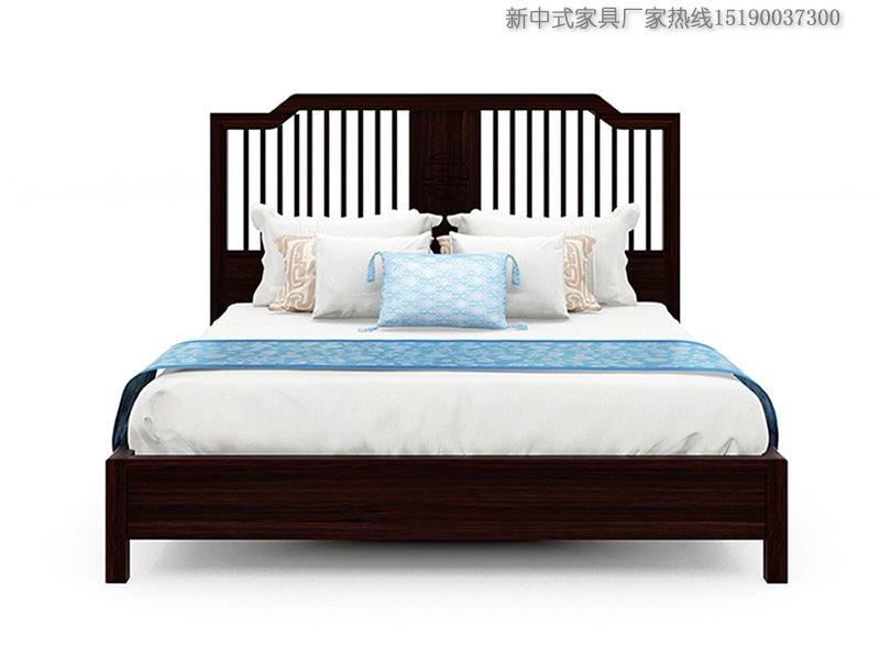 新中式风格床深胡桃木色栅栏床实木大床定制