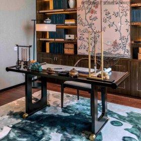 新中式实木书桌椅组合10样板房书画桌禅意书房仿古家具定制