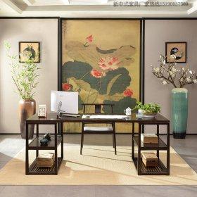 新中式实木书桌椅组合样板房书画桌禅意书房仿古家具定制16