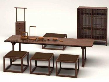 新中式茶桌椅组合现代中式实木泡茶桌样板房家_新中式家具定制