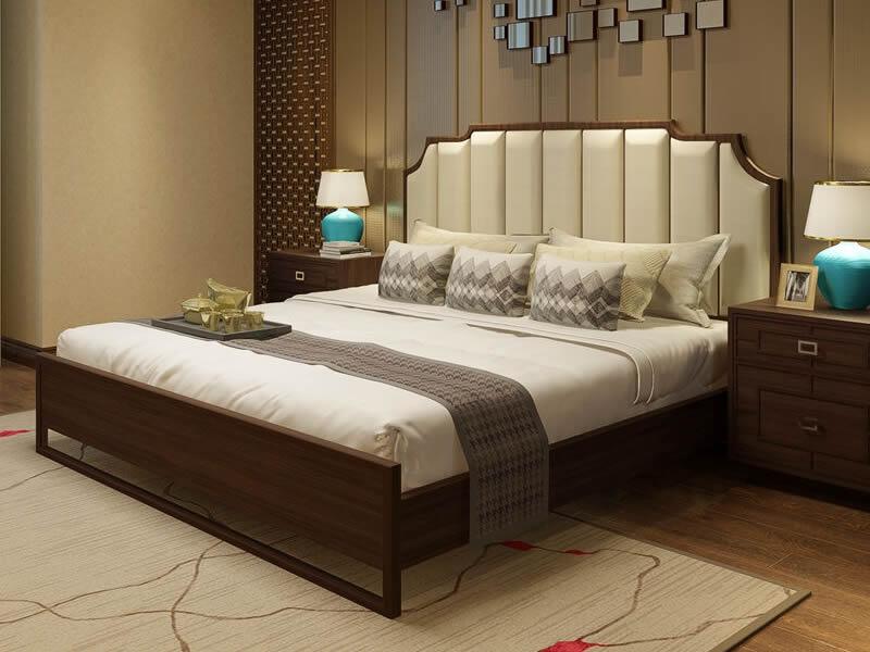 新中式实木床1.8米婚床简约现代新古典样板房客房客栈宾馆大床定制2