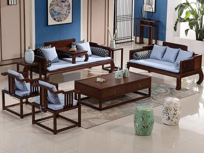 新中式沙发组合,实木沙发组合,实木布艺酒店会所沙发定制17