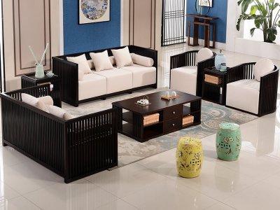 新中式沙发组合,实木沙发组合,实木布艺酒店会所沙发定制18