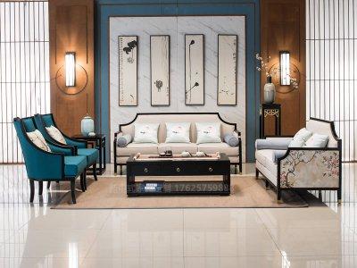 新中式沙发组合,实木沙发组合,实木布艺酒店会所沙发定制19