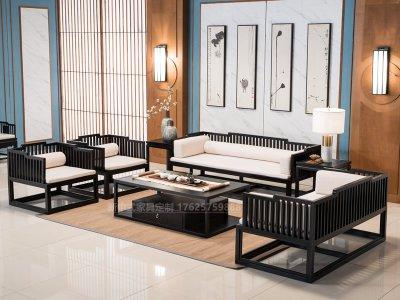 新中式沙发组合,实木沙发组合,实木布艺酒店会所沙发定制20