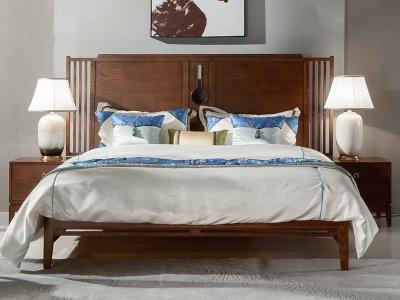 新中式床定制,实木布艺大床定制,现代中式民宿客栈床定制厂家2