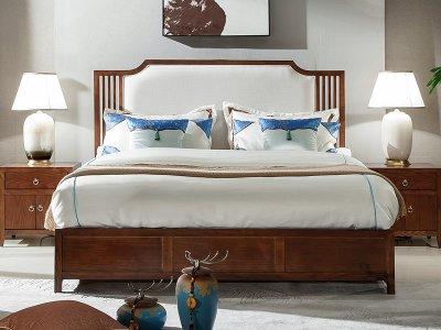 新中式床定制,实木布艺大床定制,现代中式民宿客栈床定制厂家3