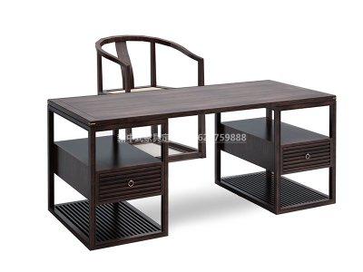 新中式书桌椅定制,现代中式实木书桌椅高端定制厂家,实木书桌书椅高端定制