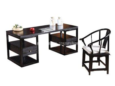 新中式书桌椅定制厂家,现代中式实木书桌书椅高端定制