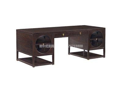 新中式书桌高端定制,现代中式实木书桌高端定制厂家