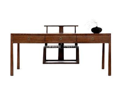 新中式书桌椅定制,现代中式实木书桌书椅高端定制厂家