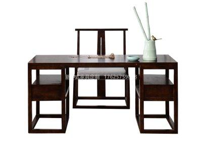 新中式书桌定制,现代中式实木书桌书椅高端定制厂家