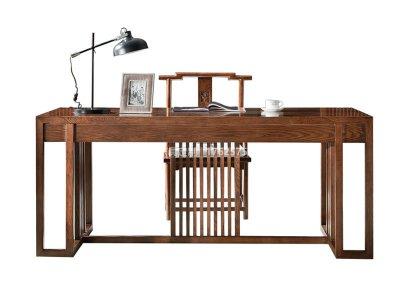 新中式书桌椅定制,现代中式实木书桌书椅高端定制