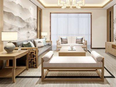 新中式沙发组合定制厂家,现代中式实木布艺沙发组合定制工厂厂家