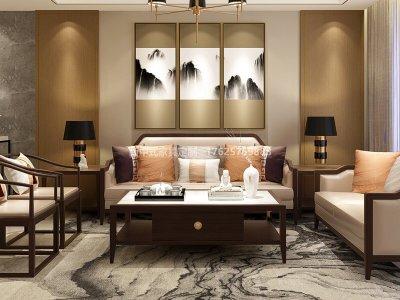 现代中式沙发组合定制,新中式家具定制厂家工厂,新中式实木家具高端定制