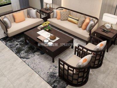 新中式沙发组合定制厂家,现代中式实木沙发组合定制工厂厂家2