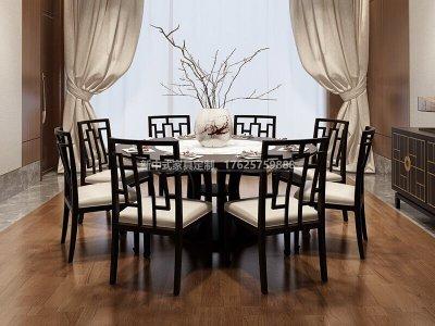 新中式餐桌椅组合定制,现代中式实木餐桌椅高端定制厂家
