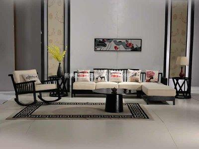 新中式沙发组合定制,现代中式实木布艺沙发组合高端定制厂家