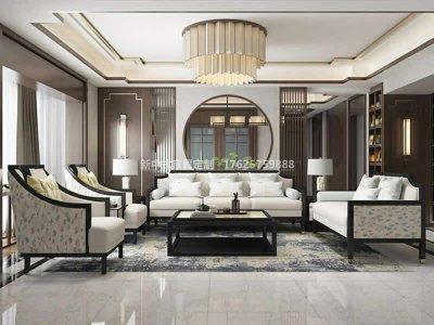 新中式沙发组合定制,现代中式实木沙发组合高端定制厂家