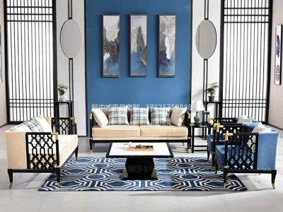 新中式沙发组合定制,现代中式实木沙发高端定制,新中式会所沙发高端定制