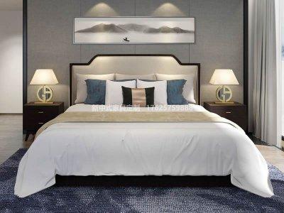 新中式实木床大床高端定制厂家,现代中式实木床高端定制工厂