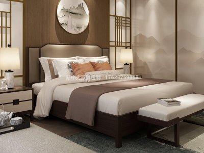 新中式实木大床高端定制,现代中式民宿会所客栈实木大床家具厂家