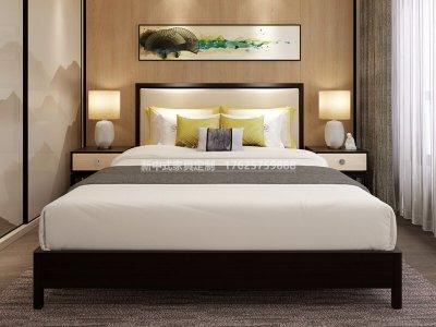 新中式实木床高端定制,现代中式实木床定制厂家