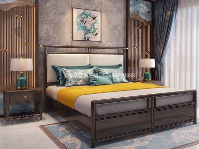 新中式实木床JYG-CQS-1701